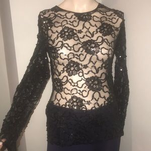 Adrienne Vittadini Lace and Sequin Top Sz S